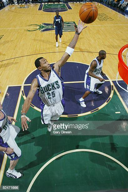 Maurice Williams of the Milwaukee Bucks rebounds against the Dallas Mavericks during the game on March 11 2005 at the Bradley Center in Milwaukee...