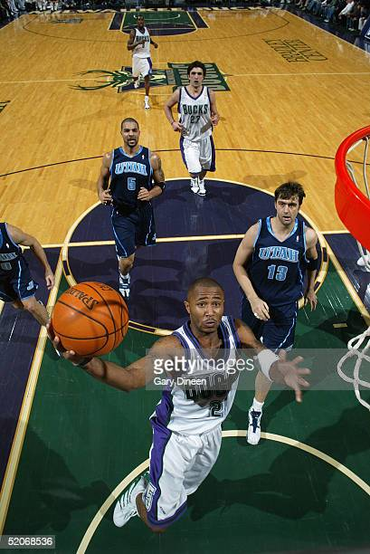 Maurice Williams of the Milwaukee Bucks shoots a layup against the Utah Jazz during the game on January 8 2005 at the Bradley Center in Milwaukee...