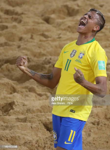 Mauricinho of Brazil celebrates a goal during the FIFA Beach Soccer World Cup Paraguay 2019 group D match between Brazil and Oman at Estadio...