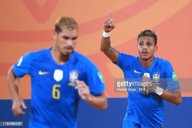 Mauricinho of Brazil celebrates after scoring a goal of his team during the FIFA Beach Soccer World Cup Paraguay 2019 group D match between Nigeria...
