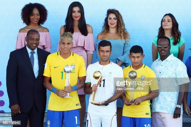 Mauricinho of Brazil Mohammad Ahmadzadeh of Iran and Datinha of Brazil pose with their individual awards after the FIFA Beach Soccer World Cup...
