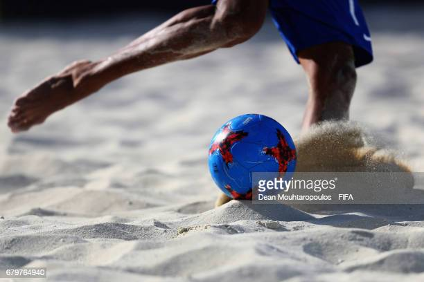 Mauricinho of Brazil shoots on goal during the FIFA Beach Soccer World Cup Bahamas 2017 semi final match between Brazil and Italy at National Beach...