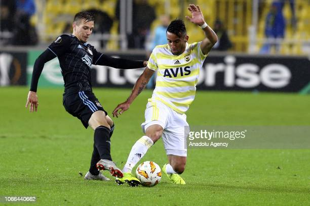 Mauricio Anibal Isla of Fenerbahce in action against Gojak Amer of Dinamo Zagreb during UEFA Europa League Group D Week 5 football match between...