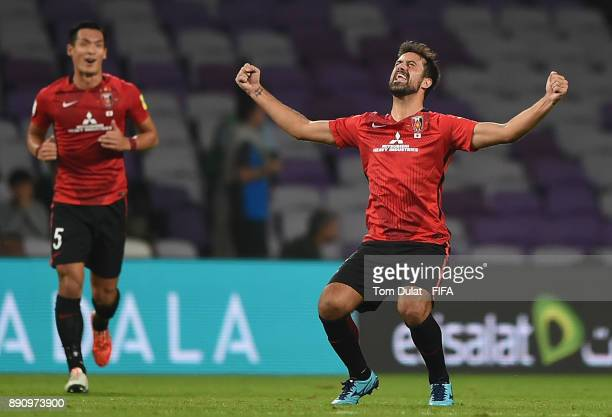 Mauricio Antonio of Urawa Reds celebrates scoring his first goal during the FIFA Club World Cup UAE 2017 match between Wydad Casablanca and Urawa...