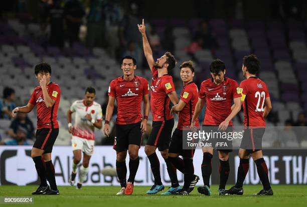 Mauricio Antonio of Urawa Reds celebrates scoring his second goal during the FIFA Club World Cup UAE 2017 match between Wydad Casablanca and Urawa...