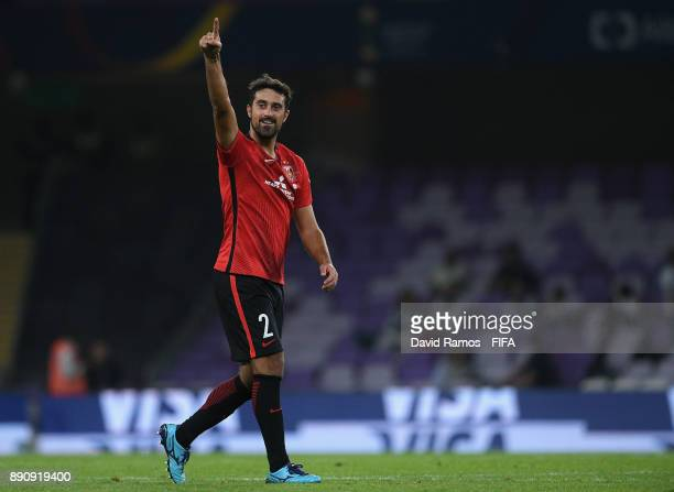 Mauricio Antonio of Urawa Reds celebrates scoring the 3rd Urawa Reds goal during the FIFA Club World Cup UAE 2017 fifth place playoff match between...