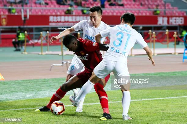 Mauricio Azevedo Alves of Hebei China Fortune drives the ball during 2019 China Super League between Hebei China Fortune and Jiangsu Suningi at...