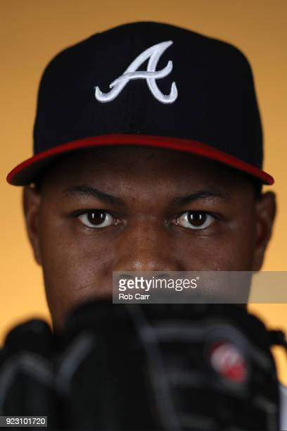 Mauricio Cabrera of the Atlanta Braves poses for a photo during photo days at Champion Stadium on February 22 2018 in Lake Buena Vista Florida