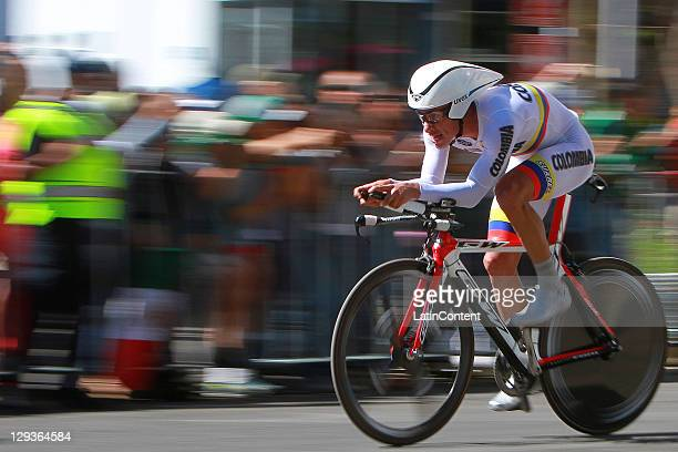 Mauricio Casa of Colombia during the Men's Time Trials Road Race during the 2011 XVI Pan American Games at Guadalajara Circuito and ruta on October...