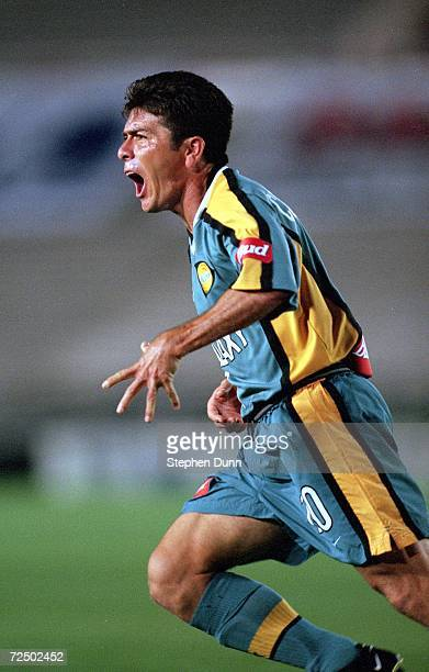 672c37a8033 Mauricio Cienfuegos of the Los Angeles Galaxy celebrates the goal as he run  down the field