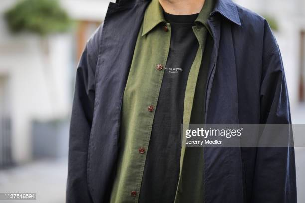 Mauricio Corridan wearing Coat Jacquemus Shirt Acne studios TShirt Acne Studios on March 20 2019 in Berlin Germany