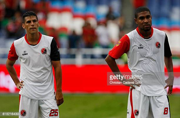 Mauricio Duarte and Victor Asprilla of Cucuta gesture after the match between America de Cali and Cucuta as part of round 16 of Torneo Aguila 2016...
