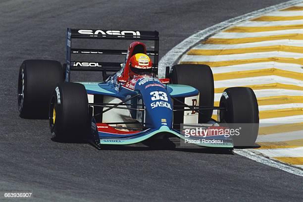 Mauricio Gugelmin of Brazil drives the Sasol Jordan Yamaha Jordan 192 Yamaha V12 during the Brazilian Grand Prix on 5 April 1992 at the Autodromo...