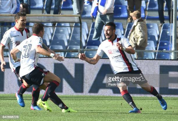 Mauricio Isla of Cagliari celebrates after score 01 during the Serie A match between UC Sampdoria and Cagliari Calcio at Stadio Luigi Ferraris on...