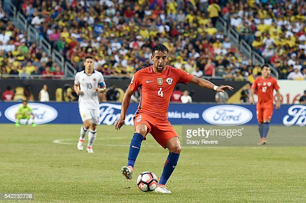 Mauricio Isla of Chile handles the ball against Colombia during a 2016 Copa America Centenario Semifinal match at Soldier Field on June 22 2016 in...