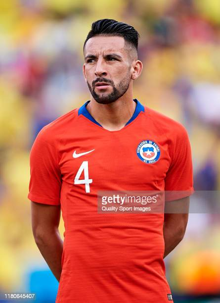 Mauricio Isla of Chile looks on prior the International friendly match between Colombia and Chile at Estadio Jose Rico Perez on October 12, 2019 in...