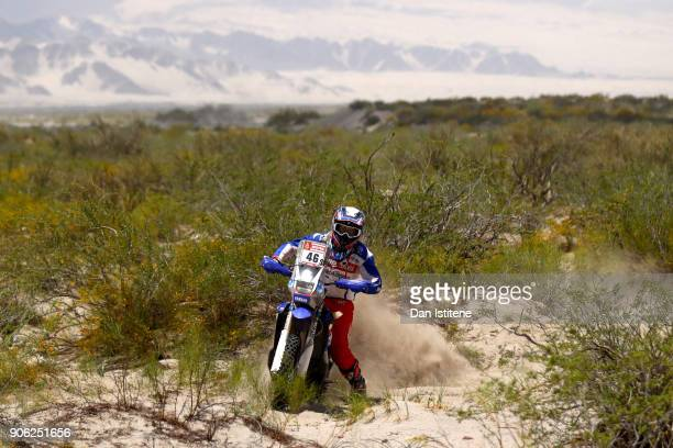 Mauricio Javier Gomez of Argentina and Paco Gomez rides a Yamaha WR 450 F in the Classe 21 Super Production during stage eleven of the 2018 Dakar...