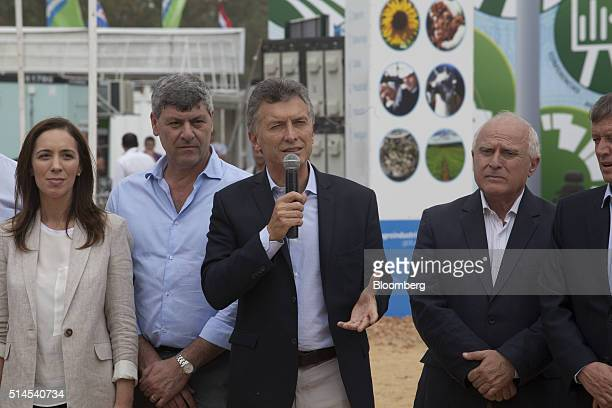 Mauricio Macri Argentina's president center speaks during the inauguration of the Expoagro agricultural fair in Buenos Aires Argentina on Wednesday...