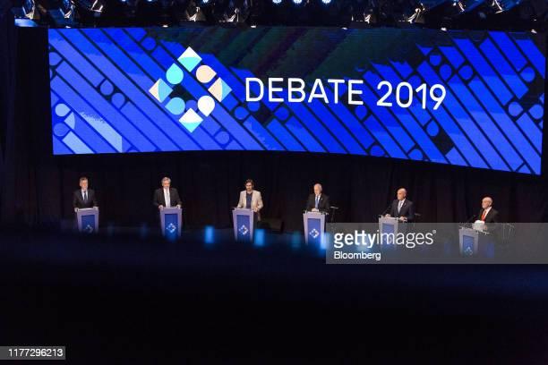 Mauricio Macri Argentina's president from left Alberto Fernandez presidential candidate for Frente de Todos party Nicolas del Cano presidential...