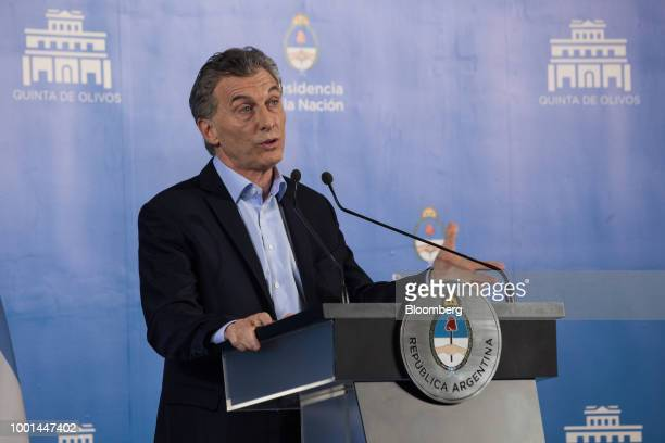 Mauricio Macri Argentina's president speaks during a press conference at the Quinta de Olivos presidential residence in Buenos Aires Argentina on...