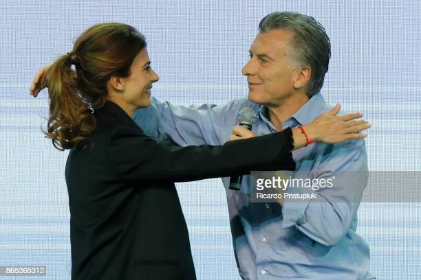 Mauricio Macri President of Argentina celebrates with his wife Juliana Awada after the Parliament elections at Bunker of Cambiemos in Costa Salguero...