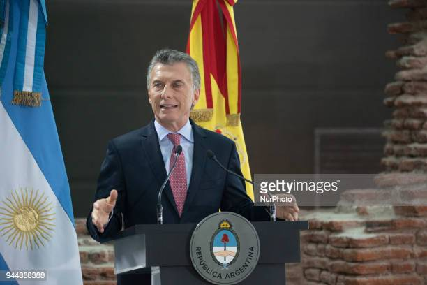 Mauricio Macri President of Argentina during the a toast to Spain's President Mariano Rajoy at the Museum of the Casa Rosada Buenos Aires Argentina...