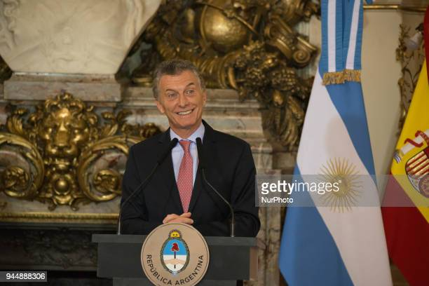 Mauricio Macri President of Argentina during the press conference held at the White Room of the Casa Rosada Buenos Aires Argentina Tuesday April 10...