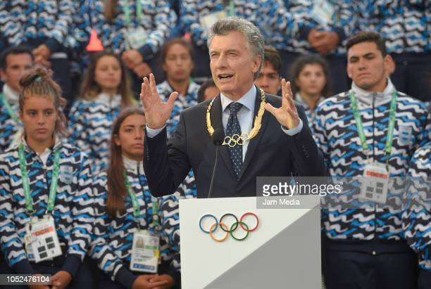 Mauricio Macri President of Argentina gives an speech on day 12 during the closing ceremony of Buenos Aires 2018 Youth Olympic Games at Youth Olympic...