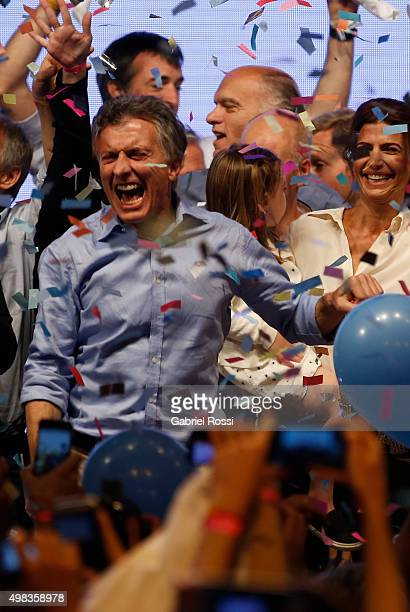 Mauricio Macri Presidential Candidate for Cambiemos celebrates after runoff elections at Cambiemos Bunker on November 22, 2015 in Buenos Aires,...