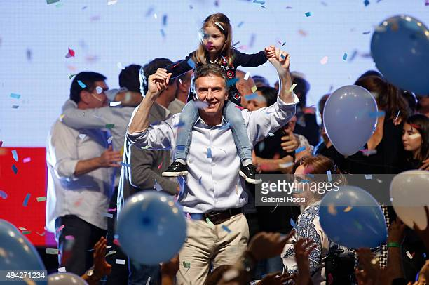 Mauricio Macri Presidential Candidate for Cambiemos celebrates with his daughter Antonia Macri after the general elections at Cambiemos Bunker on...