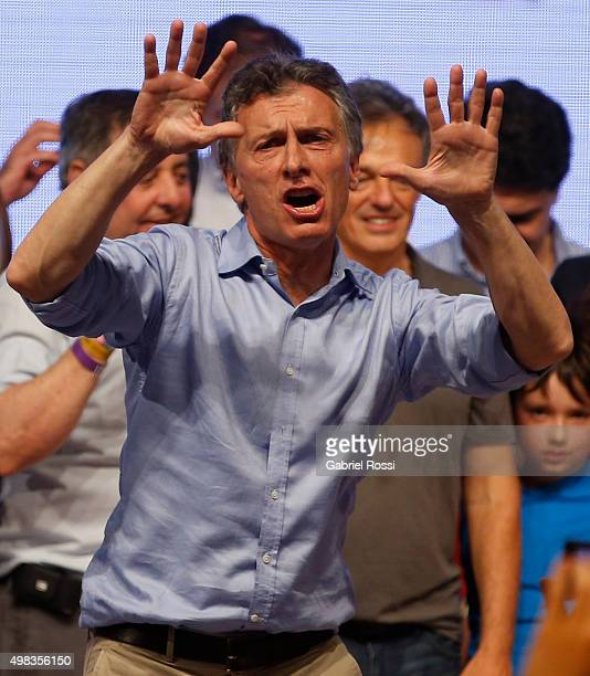 Mauricio Macri Presidential Candidate for Cambiemos dances after runoff elections at Cambiemos Bunker on November 22 2015 in Buenos Aires Argentina