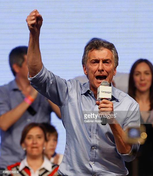 Mauricio Macri Presidential Candidate for Cambiemos delivers a speech after runoff elections at Cambiemos Bunker on November 22 2015 in Buenos Aires...