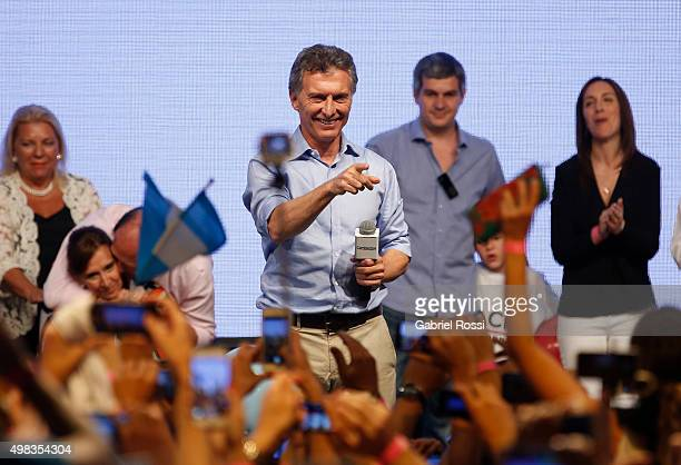 Mauricio Macri Presidential Candidate for Cambiemos gestures after runoff elections at Cambiemos Bunker on November 22 2015 in Buenos Aires Argentina