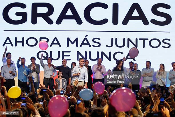 Mauricio Macri Presidential Candidate for Cambiemos gives a speech after the general elections at Cambiemos Bunker on October 25 2015 in Buenos Aires...