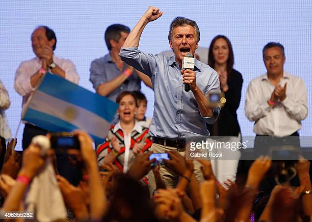 Mauricio Macri Presidential Candidate for Cambiemos gives a speech after runoff elections at Cambiemos Bunker on November 22 2015 in Buenos Aires...
