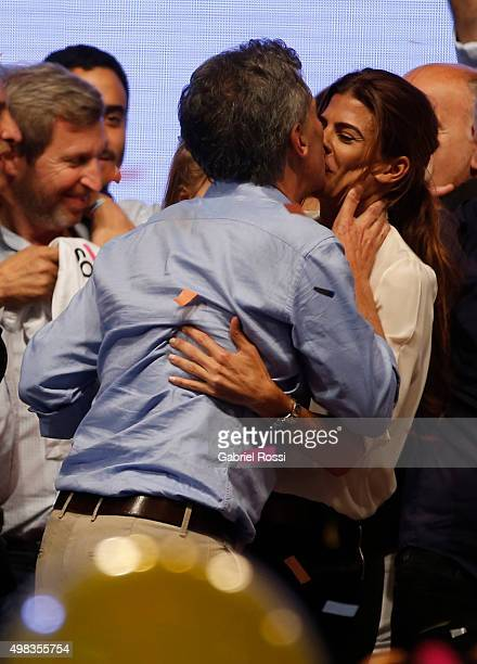 Mauricio Macri Presidential Candidate for Cambiemos kisses his wife Juliana Awada after runoff elections at Cambiemos Bunker on November 22 2015 in...