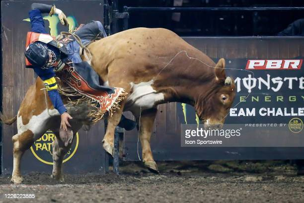 Mauricio Moreira gets bucked from bull Marquis Metal Works Coriolis Effect during the Monster Energy Team Challenge on July 10 at the Denny Sanford...