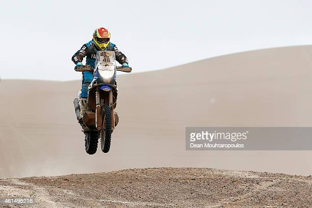 Mauricio 'Paco' Javier Gomez of Argentina for Yamaha Racing Team Argentina on the YZF450 competes in the Atacama Desert during day 10 of the Dakar...