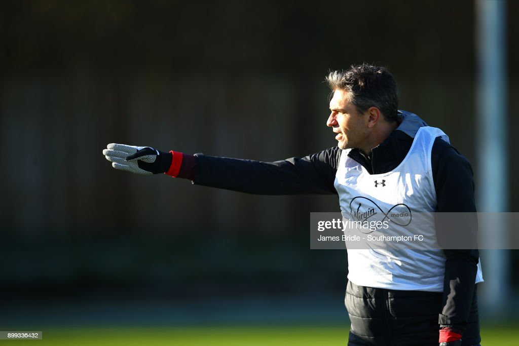 Mauricio Pellegrino during a Southampton FC training session at Staplewood Complex on December 28, 2017 in Southampton, England.