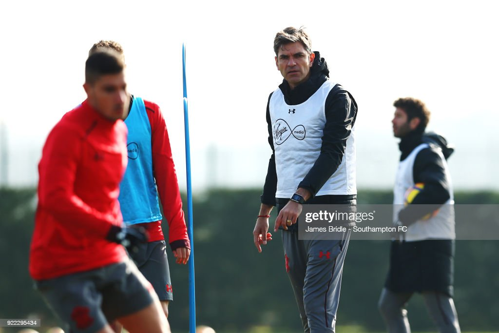 Mauricio Pellegrino (right) during a Southampton FC training session at Staplewood Complex on February 21, 2018 in Southampton, England.