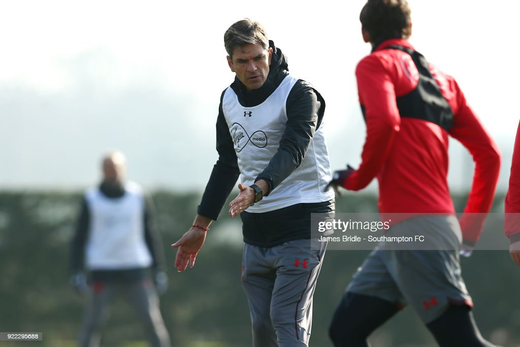 Mauricio Pellegrino (middle) during a Southampton FC training session at Staplewood Complex on February 21, 2018 in Southampton, England.