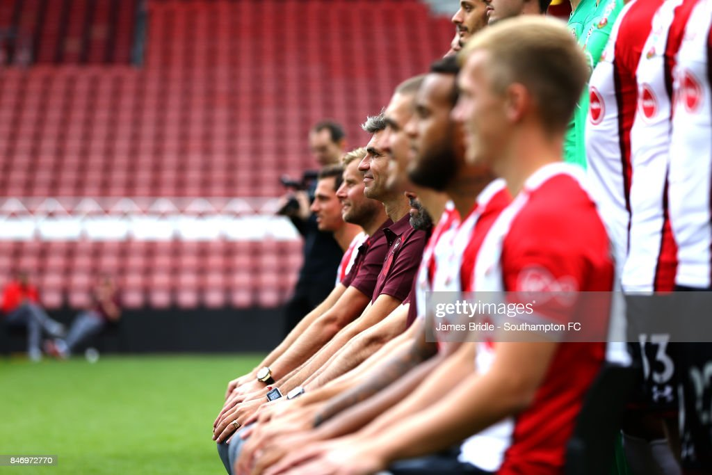 Mauricio Pellegrino (middle) during the official Southampton FC team photo at St Mary's Stadium on September 14, 2017 in Southampton, England.