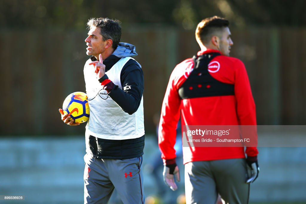 Mauricio Pellegrino (L) Dusan Tadic (right) during a Southampton FC training session at Staplewood Complex on December 28, 2017 in Southampton, England.