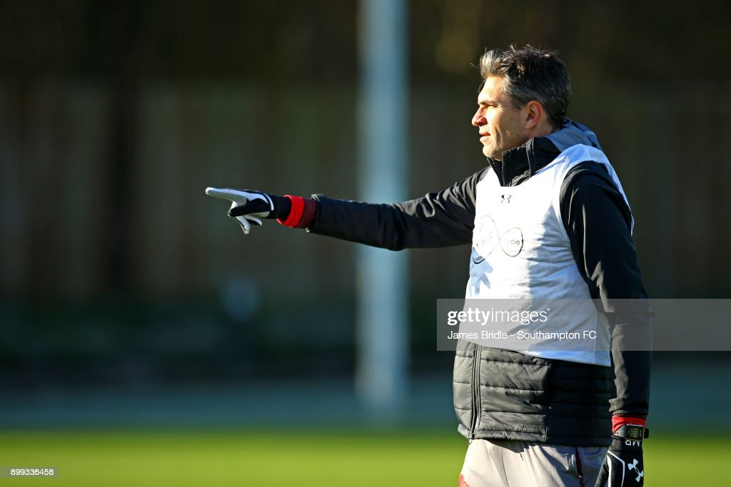 Mauricio Pellegrino gestures during a Southampton FC training session at Staplewood Complex on December 28, 2017 in Southampton, England.