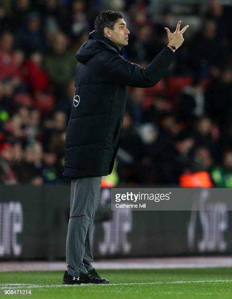 Mauricio Pellegrino manager / head coach of Southampton during the Premier League match between Southampton and Tottenham Hotspur at St Mary's...