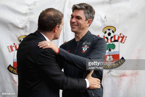 Mauricio Pellegrino Manager of aSouthampton nd Slaven Bilic Manager of West Ham United greet each other prior to the Premier League match between...