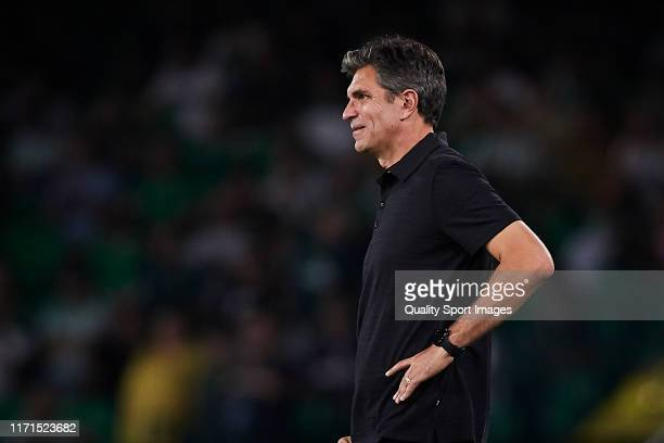 Mauricio Pellegrino Manager of CD Leganes looks on prior to the Liga match between Real Betis Balompie and CD Leganes at Estadio Benito Villamarin on...
