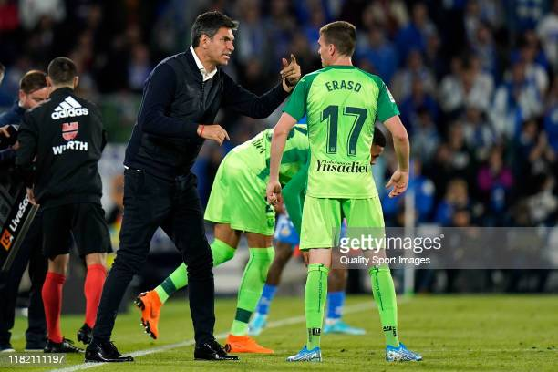 Mauricio Pellegrino Manager of CD Leganes of CD Leganes gives instructions during the Liga match between Getafe CF and CD Leganes at Coliseum Alfonso...