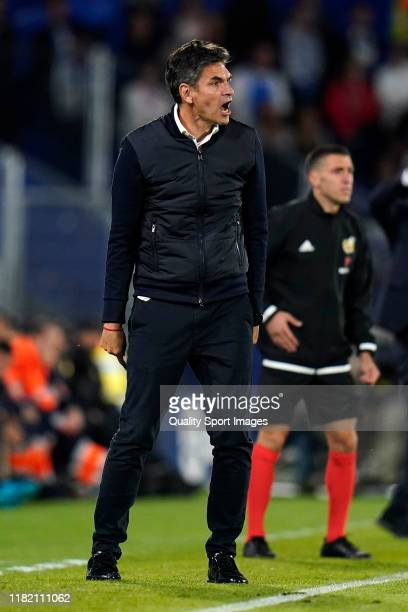 Mauricio Pellegrino Manager of CD Leganes of CD Leganes reacts during the Liga match between Getafe CF and CD Leganes at Coliseum Alfonso Perez on...