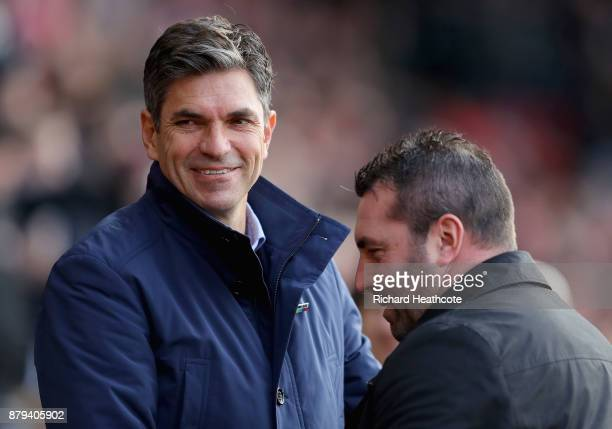 Mauricio Pellegrino Manager of Southampton and David Unsworth Caretaker Manager of Everton during the Premier League match between Southampton and...